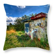 Love Graffiti Covered Building In Field Throw Pillow
