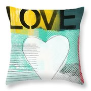 Love Graffiti Style- Print Or Greeting Card Throw Pillow by Linda Woods
