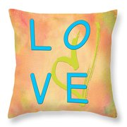 Love In Bright Blue Throw Pillow