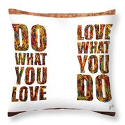 Love In Life Acrylic Palette Knife Painting Throw Pillow