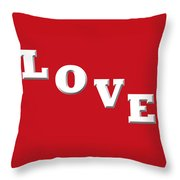 Love In White On Red Throw Pillow