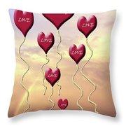 Love Is In The Air Sunshine Rainbow Throw Pillow by Cathy  Beharriell