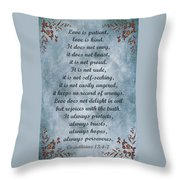 Love Is Patient Clouds Gold Leaf Throw Pillow