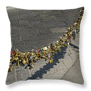Love Locks - Florence Italy Throw Pillow