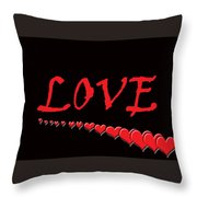 Love On Black Throw Pillow