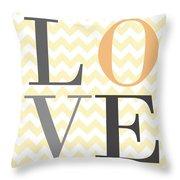 Love On Chevron Peach Throw Pillow