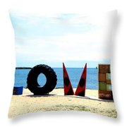 Love On The Beach Found Art Outer Banks Throw Pillow