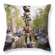 Love Padlocks In Amsterdam Throw Pillow