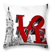 Love Park And City Hall Bw Throw Pillow
