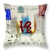 Love Park Post Card Throw Pillow