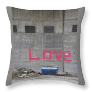 Love - Pink Painting On Grey Wall Throw Pillow