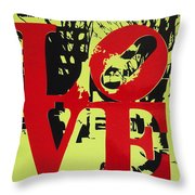 Love - Red On Lime Throw Pillow