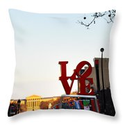 Love Statue And The Art Museum Throw Pillow