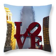 Love Statue In Philadelphia Pa Throw Pillow