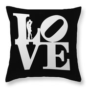 Love Typography And Kissing Couple Throw Pillow