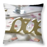 Love Word At A Wedding Throw Pillow