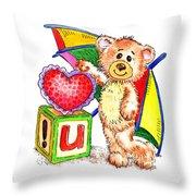 Love You Teddy Bear Throw Pillow
