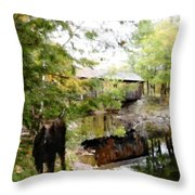 Lovejoy Covered Bridge And Moose Throw Pillow
