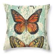 Lovely Butterfly Trio On Tin Tile Throw Pillow
