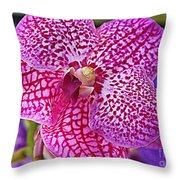 Orchid Lovely In Pink And White Throw Pillow