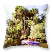 Lovely Kayaker Throw Pillow