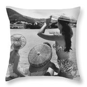 Lovely Ladies In Cha Cha Hats Throw Pillow