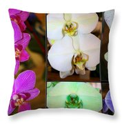 Lovely Orchids - A Collage Throw Pillow