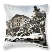 Lovely Snow On The Museum Throw Pillow