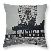 Lovers And A Surfer At Pleasure Pier Throw Pillow