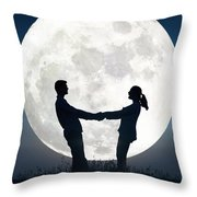 Lovers And Full Moon Throw Pillow
