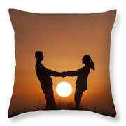 Lovers And Setting Sun Throw Pillow