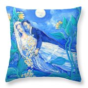 Lovers And Sunflowers  After Marc Chagall  Throw Pillow