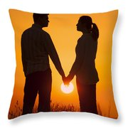 Lovers Holding Hands At Sunset In Silhouette Throw Pillow