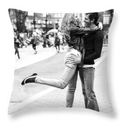Lovers In The City Throw Pillow