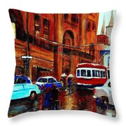 Lovers In The Rain Stroll St Catherine Street Near Morgans Department Store Vintage City Scene Art Throw Pillow