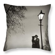 Lovers Say Goodbye Under A Streetlamp Throw Pillow