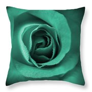 Love's Eternal Teal Green Rose Throw Pillow
