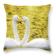 Loving Swans Throw Pillow by Tommytechno Sweden