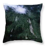 Low Angle View Of A Mountain, Milford Throw Pillow