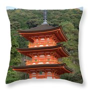 Low Angle View Of A Small Pagoda Throw Pillow