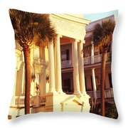 Low Angle View Of Historic Houses Throw Pillow