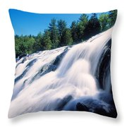 Low Angle View Of The Bond Falls Throw Pillow