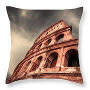 Low Angle View Of The Roman Colosseum Throw Pillow by Stefano Senise
