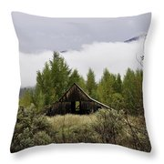 Low Clouds On The Mountain Throw Pillow