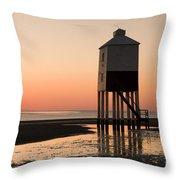 Low Lighthouse Sunset Throw Pillow