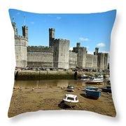 Low Tide At Caernarfon Throw Pillow by Jane Rix