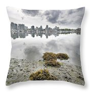 Low Tide At False Creek In Stanley Park Throw Pillow