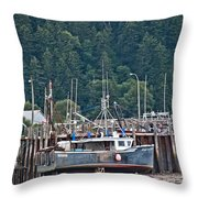 Low Tide Fishing Boat Throw Pillow