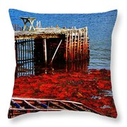 Low Tide - Red Seaweed - Fishing - Moratorium Throw Pillow