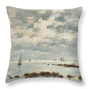 Low Tide Saint Vaast La Hougue Throw Pillow